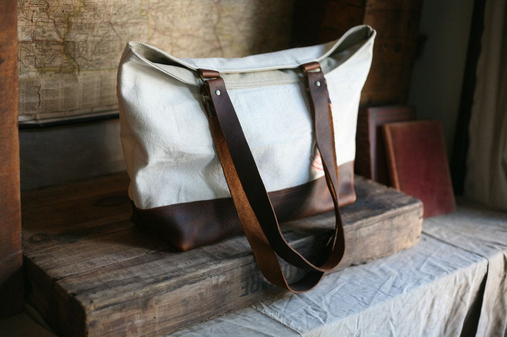 1940's Era Cotton & Canvas Leather Bottomed Carryall - SOLD