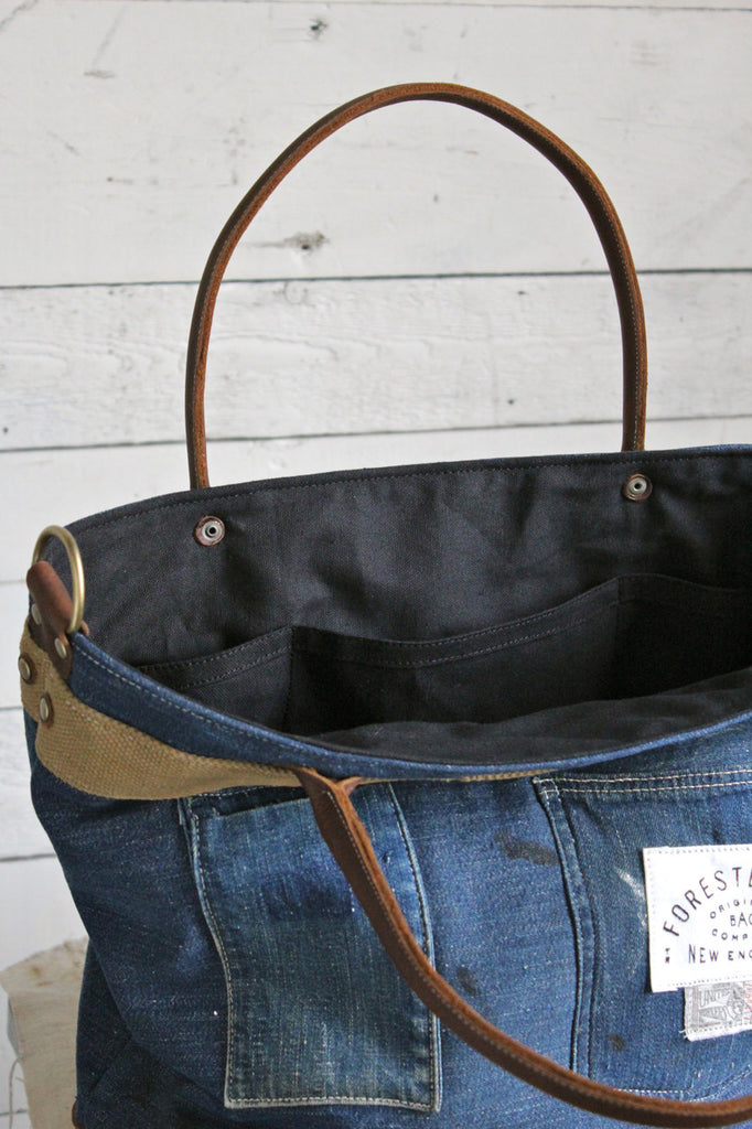 1930's era Denim & Tiger Head Carryall