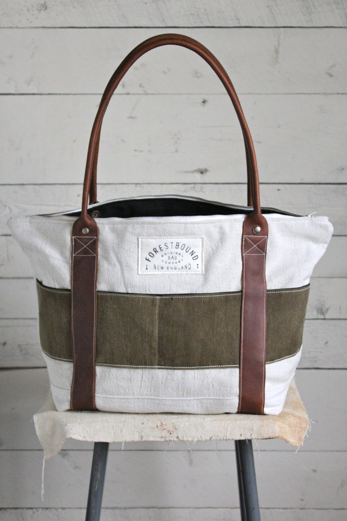 1950's era Feed Sack Zip-Top Carryall