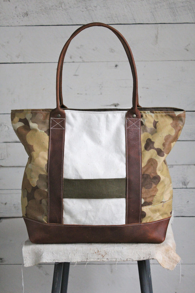 1953 Korean War Mitchell Cloud Camo & WWII era US Navy Canvas Carryall