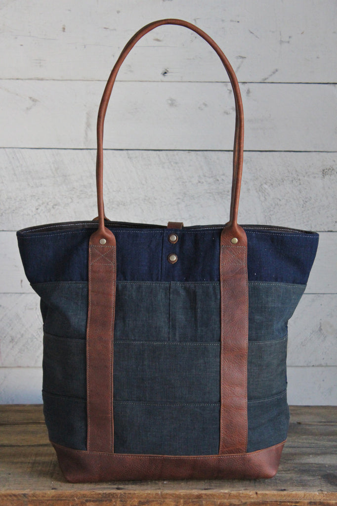 Early 1900's Indigo Dyed Cotton Pieced Carryall