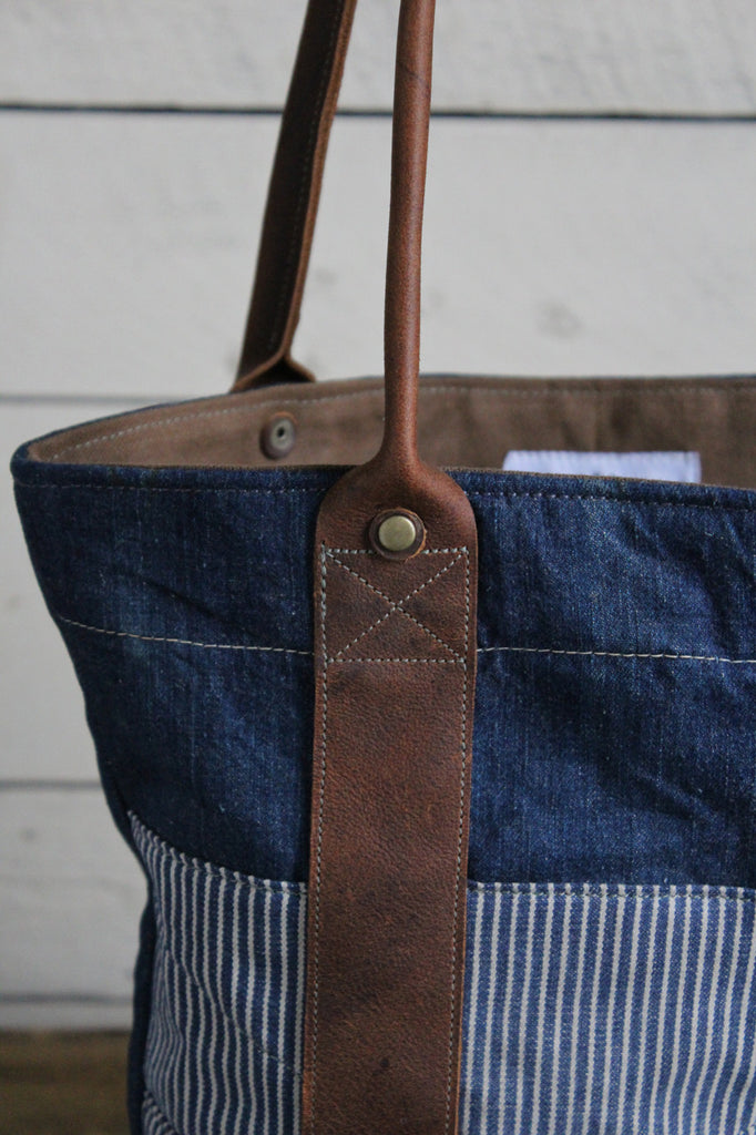 WWII era Denim and Leather Carryall