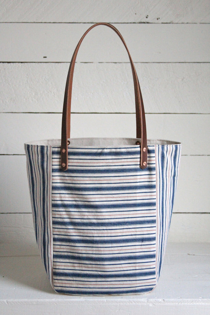 1940's era Ticking Fabric Pocket Tote
