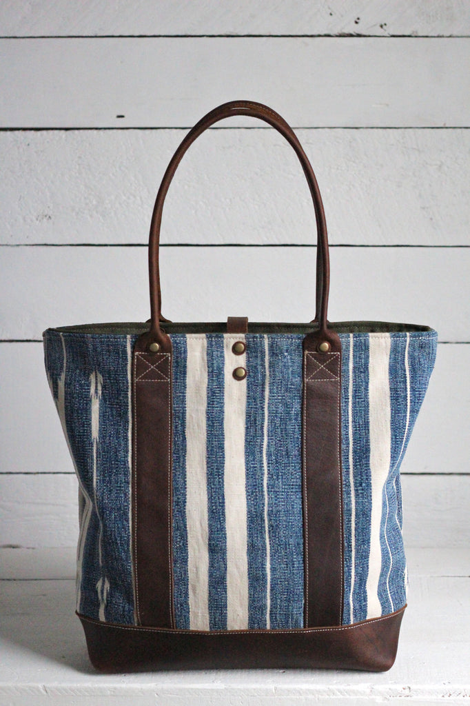 Antique Indigo Dyed Cotton and Leather Carryall