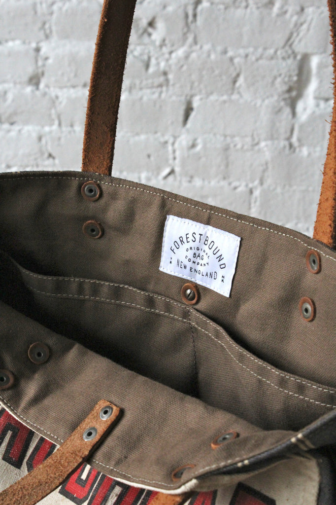 1940's era Work Apron and Ticking Fabric Carryall