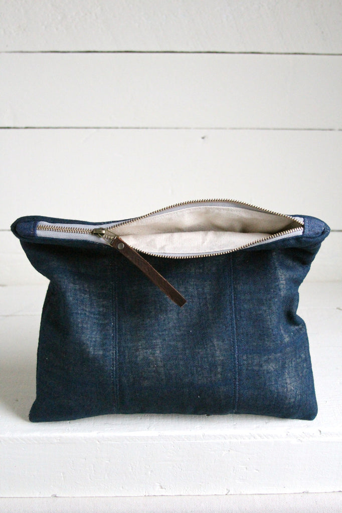 Extra Large Early 1900's Indigo Dyed Hemp Utility Pouch
