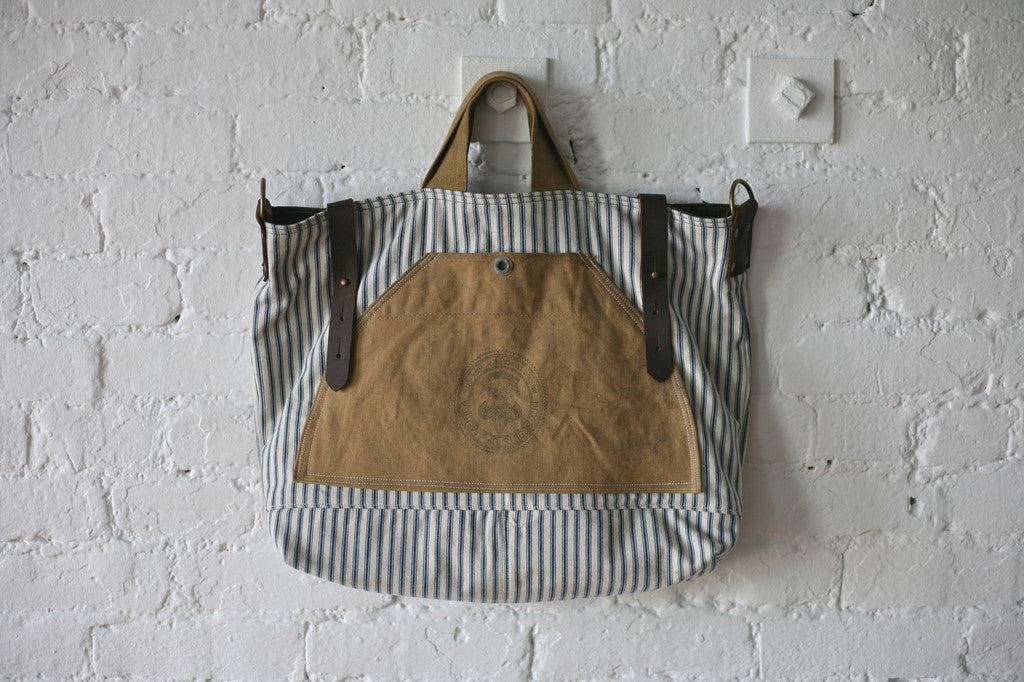1950's era Ticking Fabric & Canvas Carryall