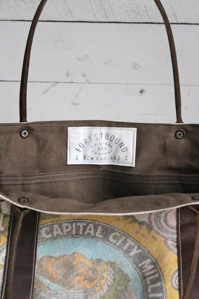 1930's era Cherokee Grain Co. Canvas & Leather Carryall