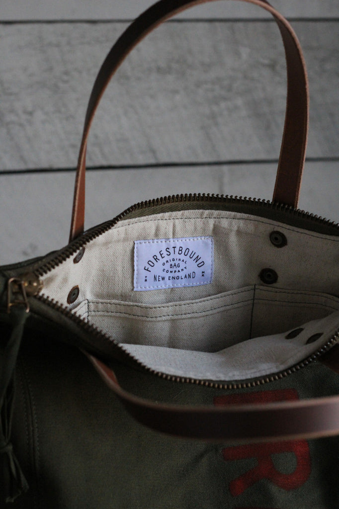 The Rambler Tote / WWII era Duffle Bag Canvas w/ Hand Printing