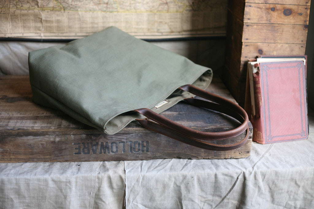 fee4163b85 WWII era Canvas and Leather Tote Bag - SOLD - FORESTBOUND