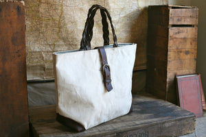 WWII era Canvas & Braided Leather Carryall - SOLD