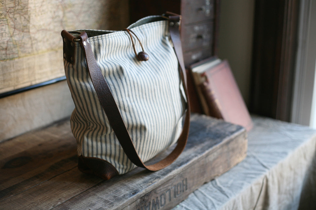 1940's era Ticking Fabric Side Bag - SOLD