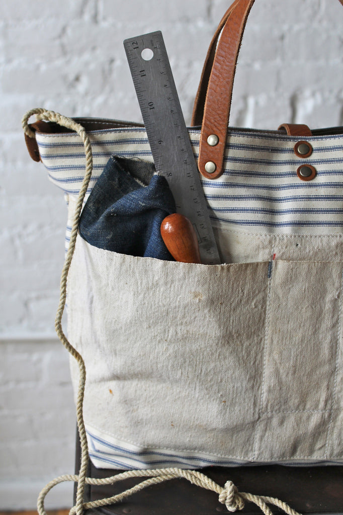 1940's era Ticking Fabric and Work Apron Carryall