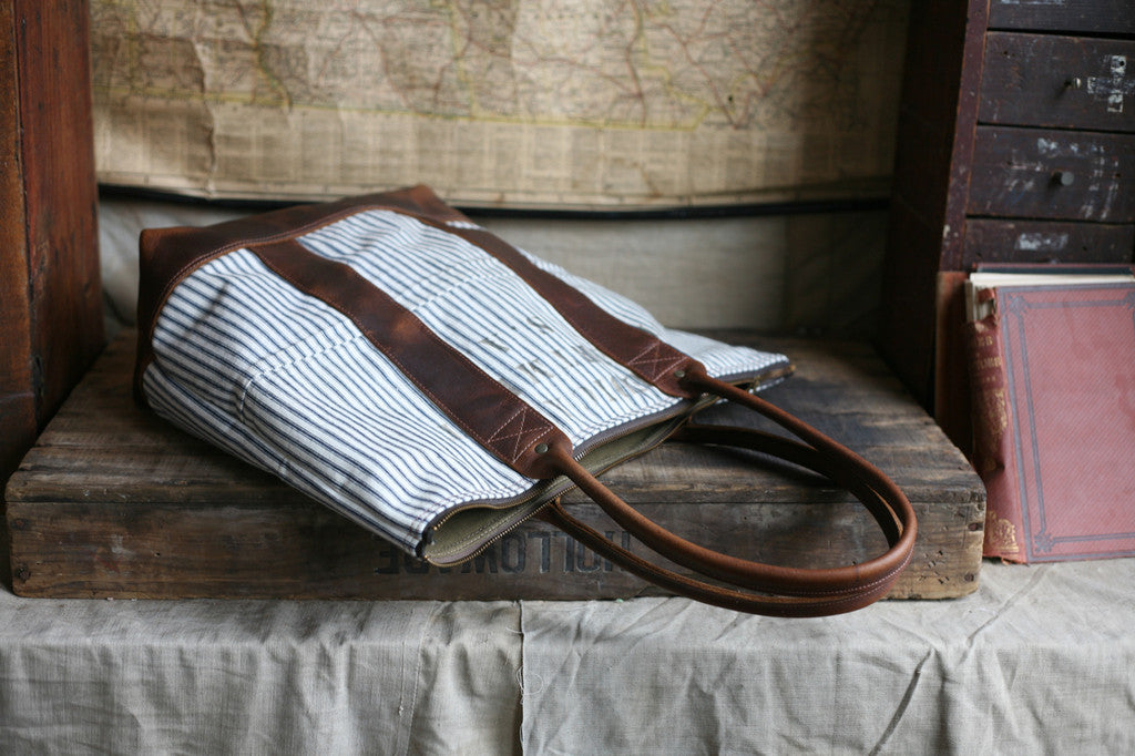 WWII era Ticking Fabric Zip-Top Carryall - SOLD