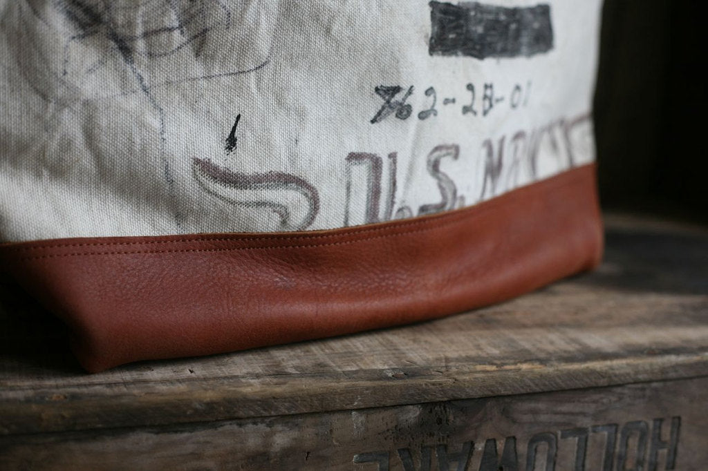 WWII era USN Canvas and Leather Carryall - SOLD
