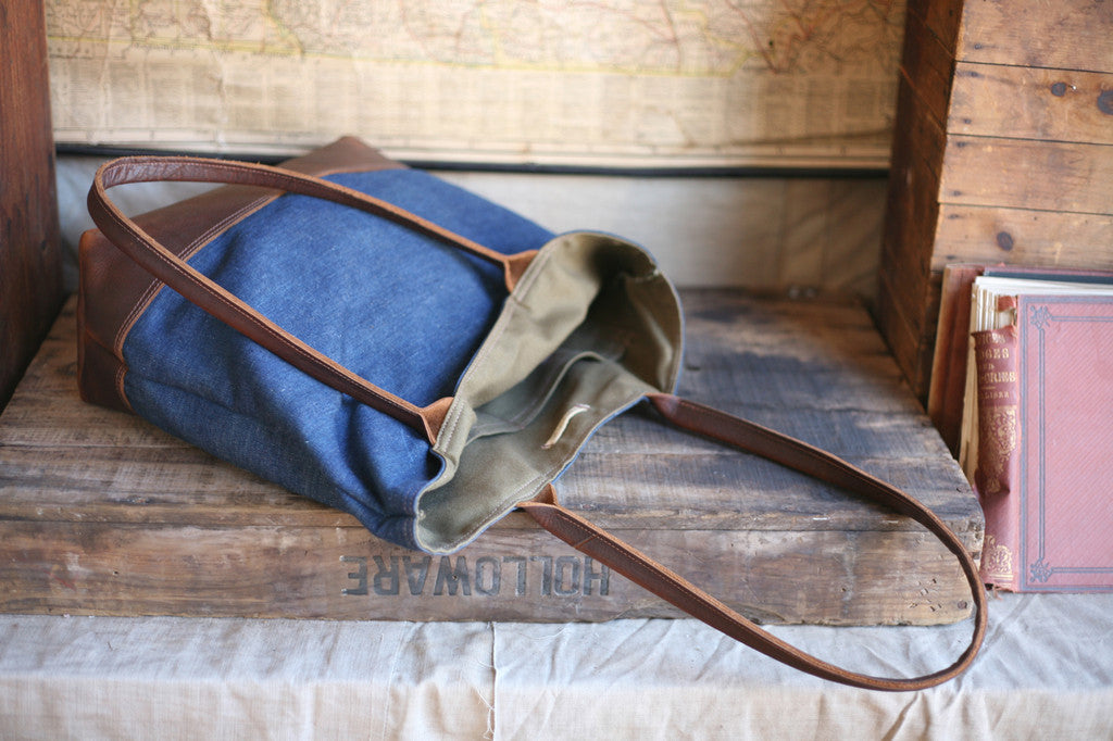 WWII era USN Denim and Leather Carryall - SOLD