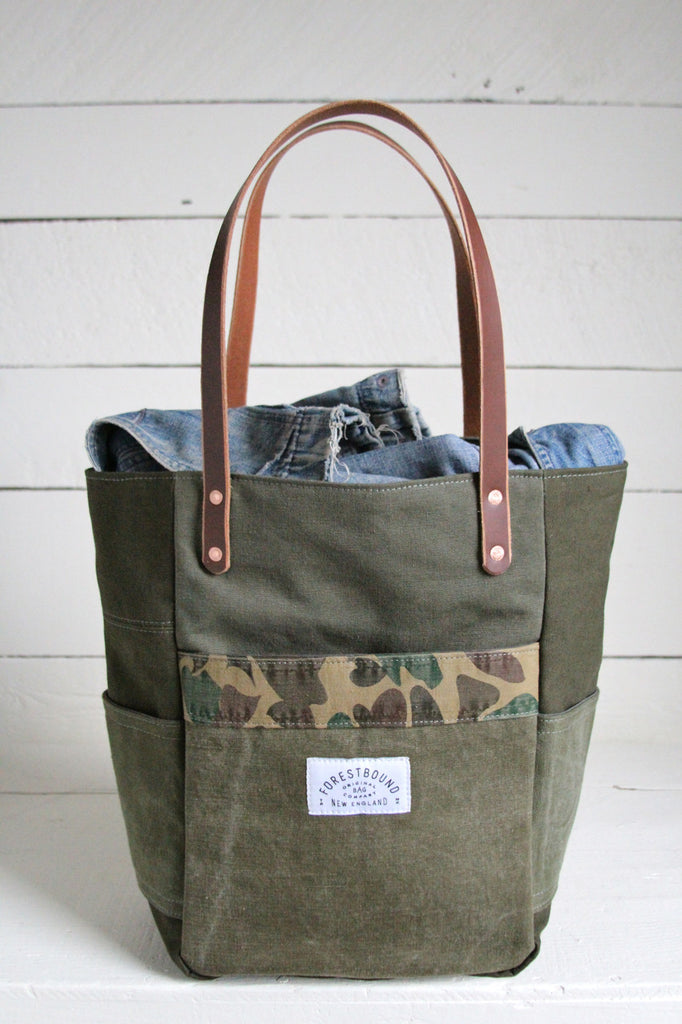 WWII era Canvas & Camo Pocket Tote Bag