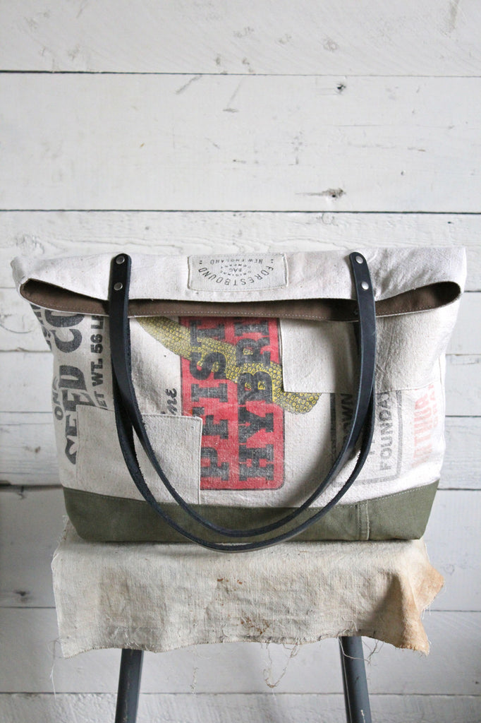 1940's era Patched Seed Bag Carryall