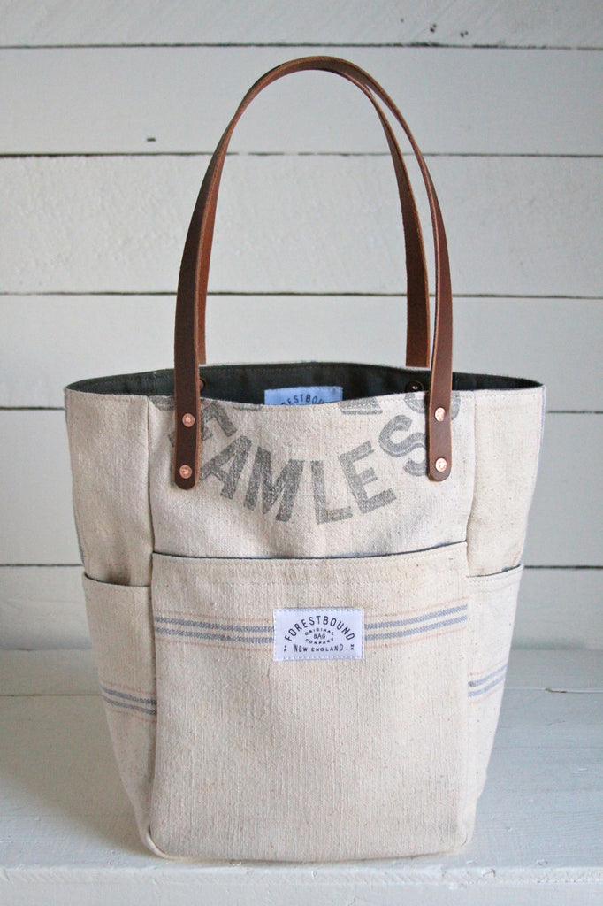 1940's era Feed Sack Pocket Tote Bag