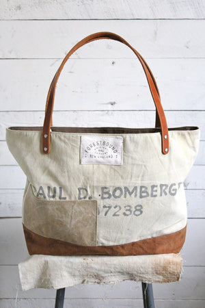 WWII era Patched Canvas Tote Bag
