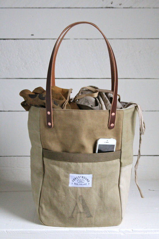WWII era Khaki Canvas Pocket Tote Bag