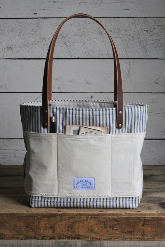 1950's era Ticking and Work Apron Tote Bag
