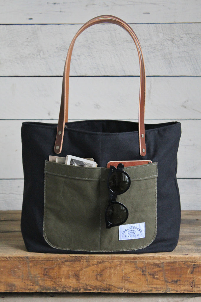Recycled Black Cotton Pocket Tote Bag