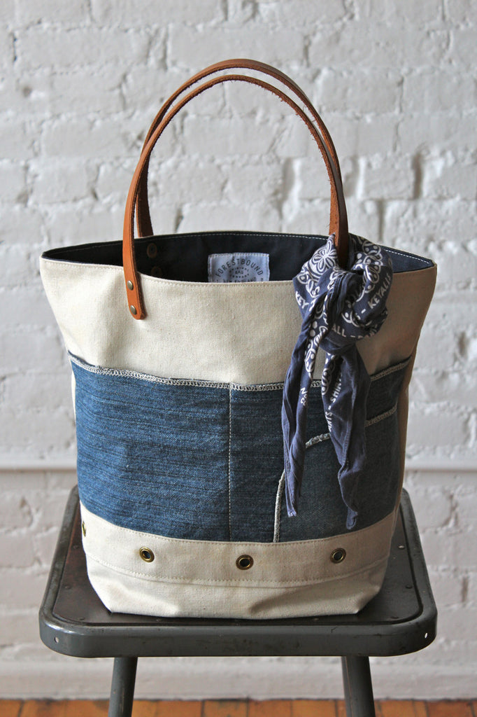 1950's era Canvas and Denim Tote Bag