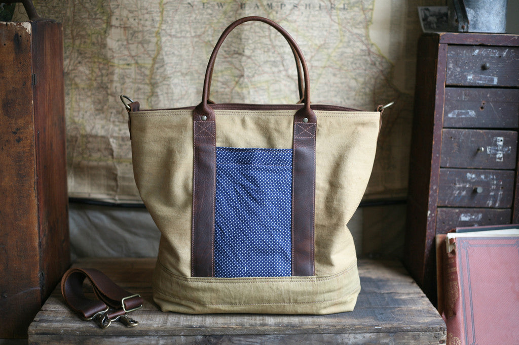 WWII era Canvas and Printed Cotton Carryall- SOLD