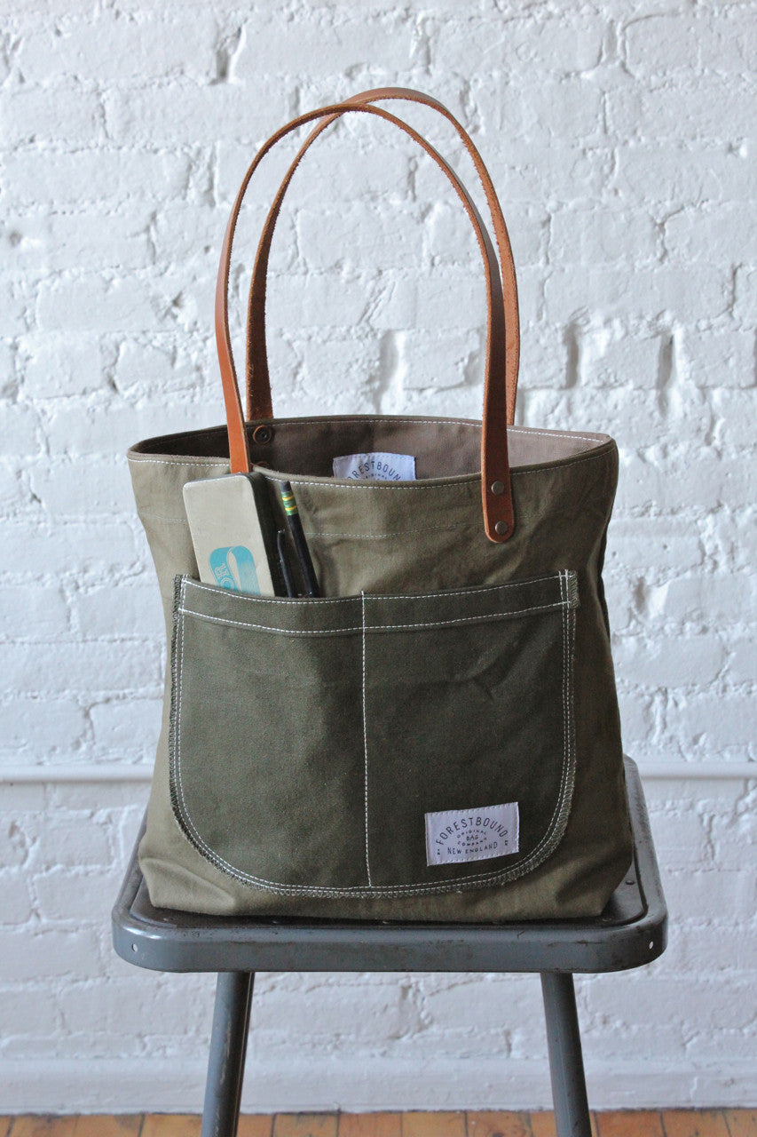 Wwii Era Military Canvas Pocket Tote Bag Forestbound