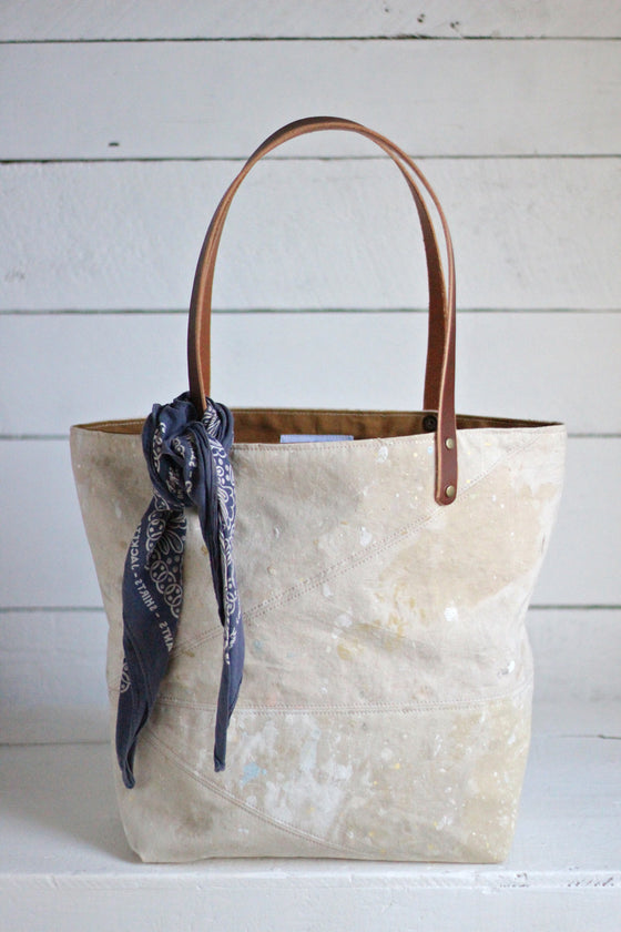 1960's era Painter's Drop Cloth Tote Bag