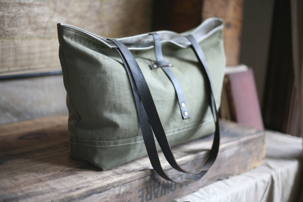 WWII era Canvas Carryall w/ 1920's era Blacksmith Leather Straps - SOLD