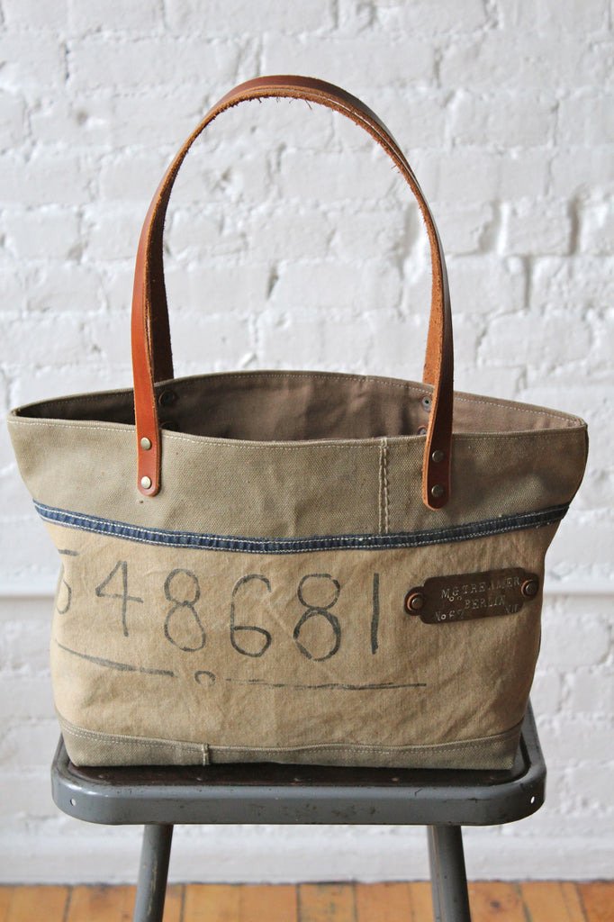 WWII era Canvas Carryall w/ early 1900's Brass Tag