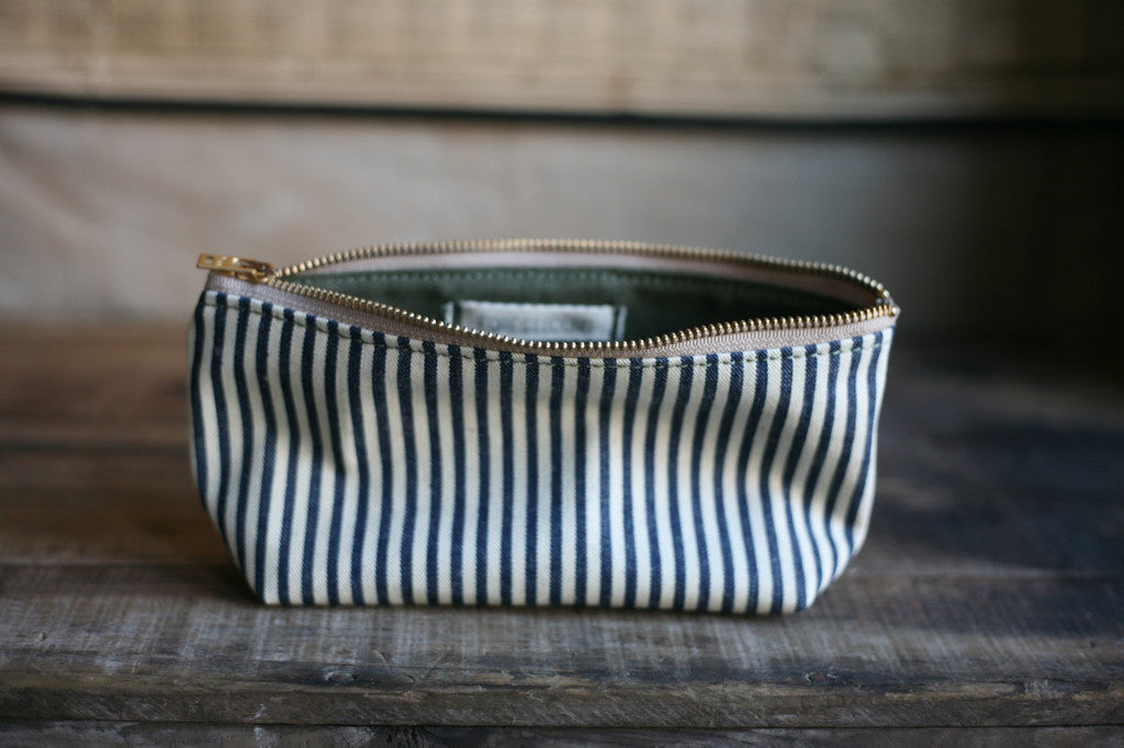1940's era Ticking Fabric Utility Pouch - SOLD