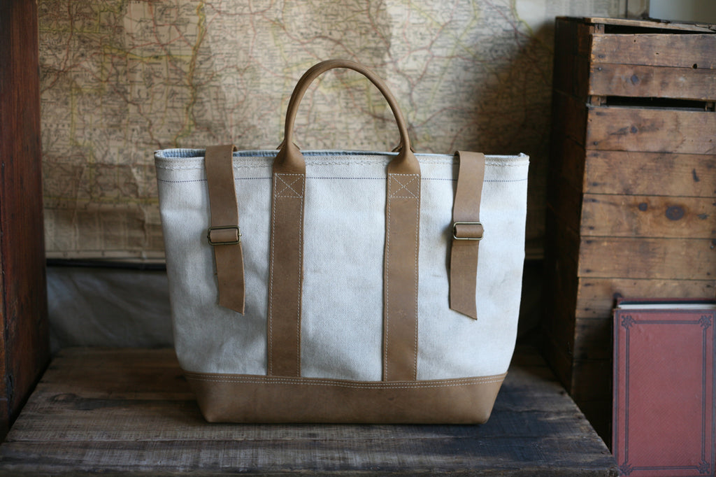 WWII era Leather Bottomed Canvas Carryall - SOLD