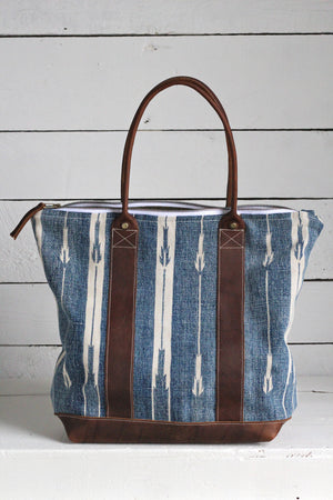Antique Indigo Dyed Cotton Carryall