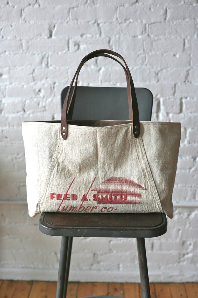 1940s era Canvas and Work Apron Tote Bag
