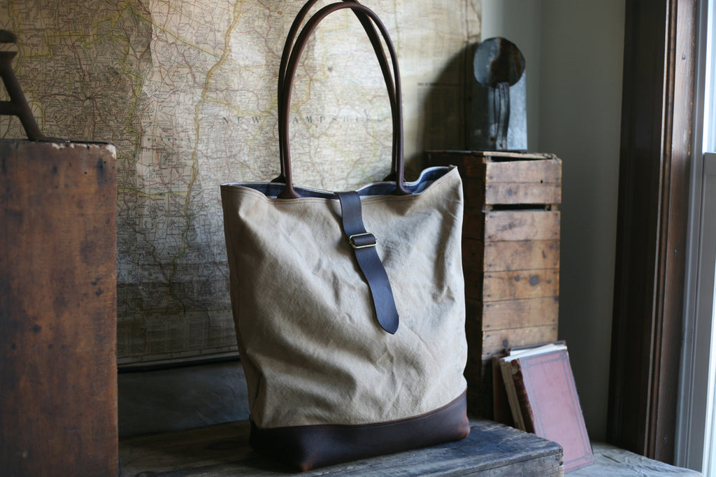 Extra Large WWII era Canvas & Leather Carryall - SOLD