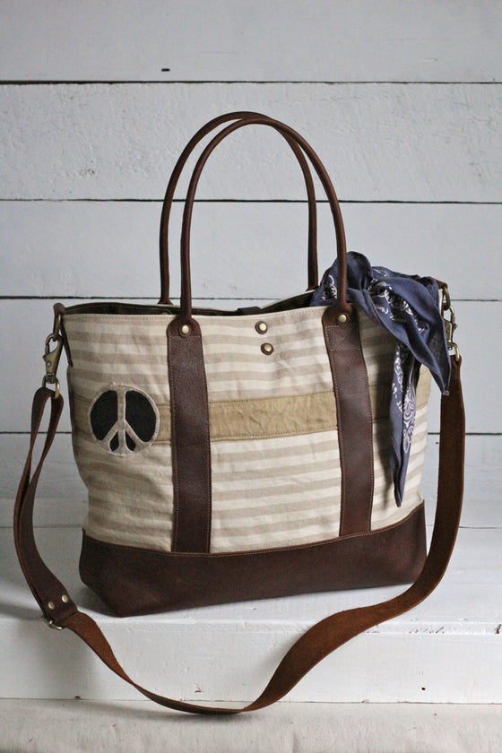 1920's era Striped Linen & Peace Patch Weekend Bag