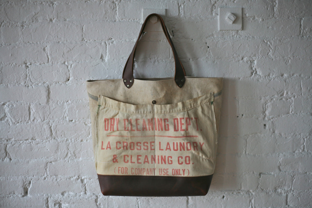 WWII era Canvas & 1930's era Cotton Apron Carryall