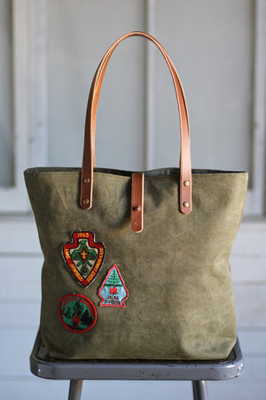 WWII era Canvas Tote Bag w/ Patches