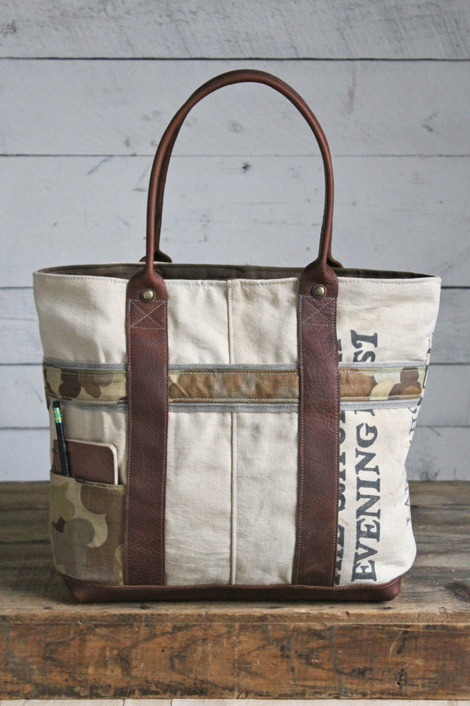 1940's era Newsboy Canvas & Cloud Camo Carryall