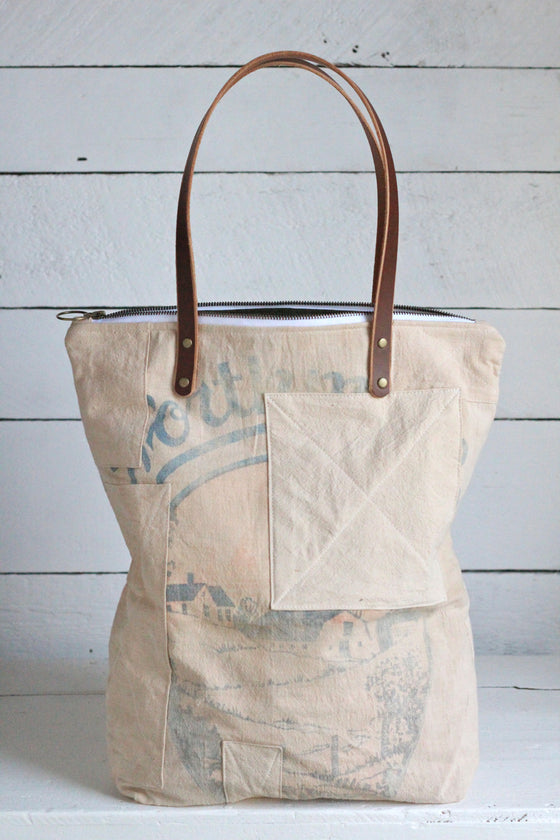 The Rambler Tote / 1940's era Patched Farm Feedsack
