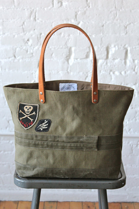 WWII era US Military Canvas Tote Bag w/ Vietnam era Patch
