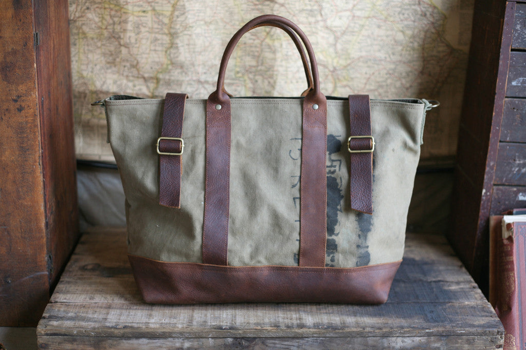WWII era Canvas and Leather Carryall - SOLD