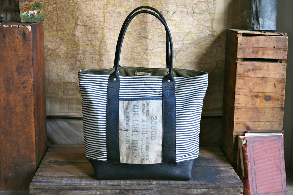 1950's era Ticking Fabric & Leather Carryall - SOLD