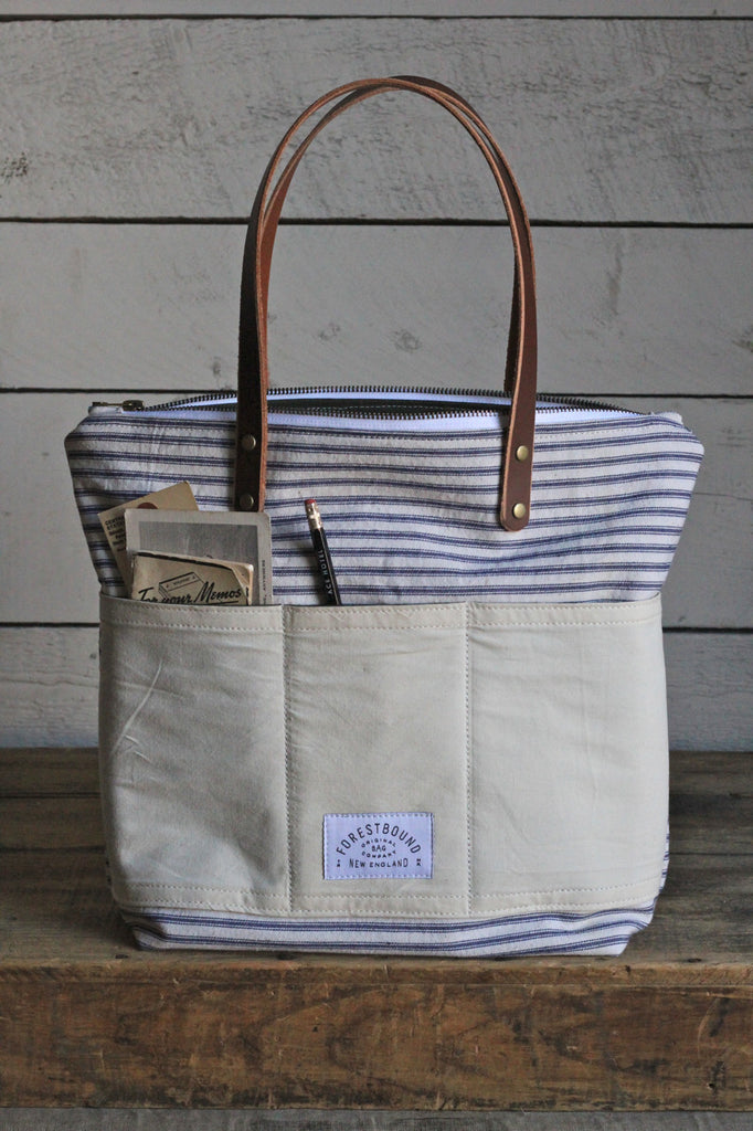 1950's era Ticking and Work Apron Zip-Top Tote Bag