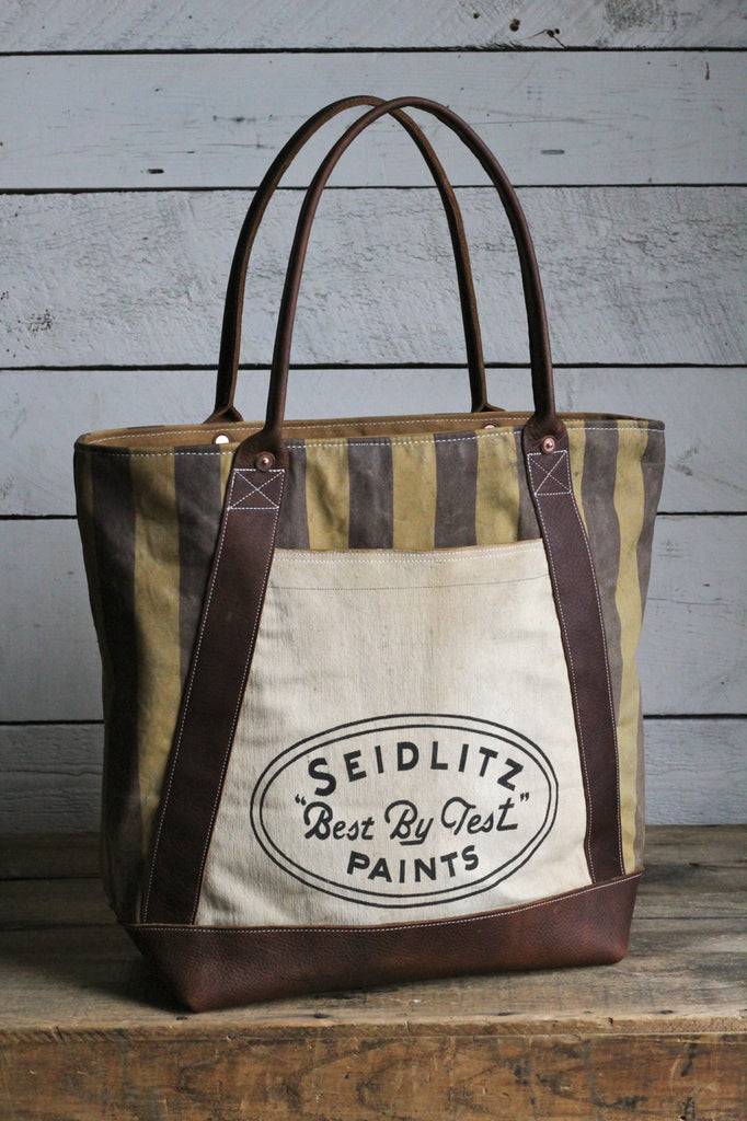 1940's era Striped Canvas and Work Apron Carryall