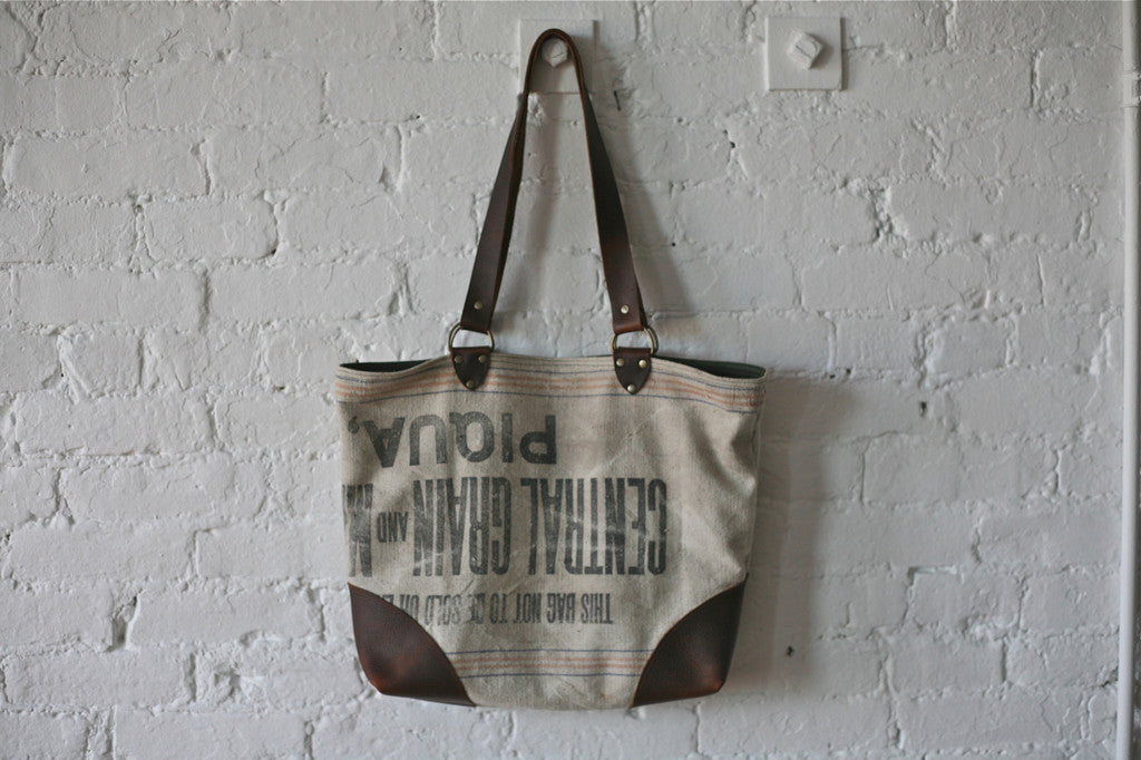 1940's era Canvas and Leather Tote Bag - SOLD