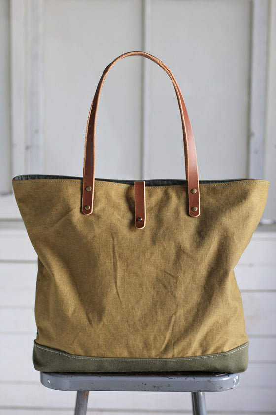 WWII era Canvas and Denim Carryall
